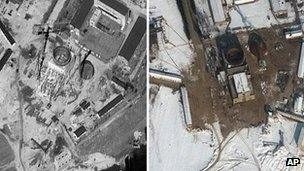 This combination of two satellite images provided by DigitalGlobe shows on the left, construction at the nuclear complex in Yongbyon, North Korea, 20 September, 2011; and on the right, the Yongbyon complex on 3 February, 2012