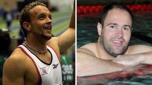 Mae Jamie Baulch, cyn athletwr sbrint Olympaidd, a'r nofiwr Paralympaidd David Roberts yn cefnogi'r ymgyrch