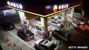 A petrol pump in China