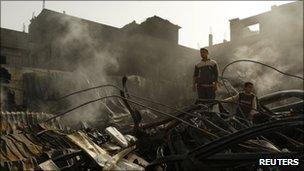 Demolished building in Gaza City on Wednesday