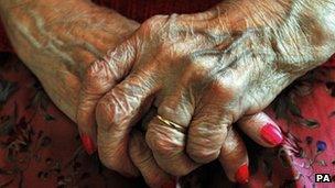 Hands of an elderly lady