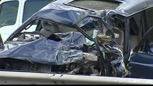 Wreckage of Mitsubishi on the A55