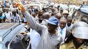 Forum for Democratic Change opposition leader Kizza Besigye in Kampala on 21 March 2012