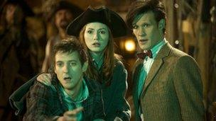Rory Williams (Arthur Darvill), Amy Pond (Karen Gillan) and The Doctor (Matt Smith)