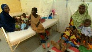 Women and children at a hospital in Ouallam, Niger