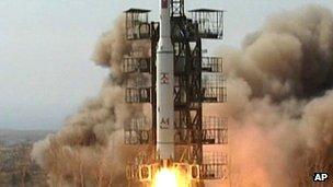 A rocket lifts off from its launch pad in Musudan-ri, North Korea, April 2009