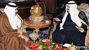 Emir of Qatar and King of Saudi Arabia meet in Riyadh (5 March 2012)