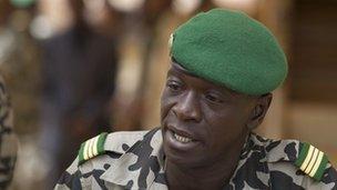 Coup leader Capt Amadou Haya Sanogo addresses the press at junta headquarters in Kati, outside Bamako on 30 March