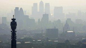 London skyline in the smog