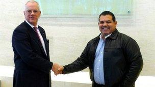 Chris Metherell, of Kent County Council, with a representative from the Puerto Rico Olympic Committee