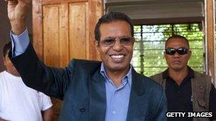 Taur Matan Ruak casts his vote in Dili on 16 April 2012