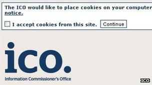 ICO cookie permission box screenshot