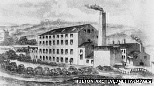Illustration of Rawfolds Mill near Huddersfield, Yorkshire, circa 1810