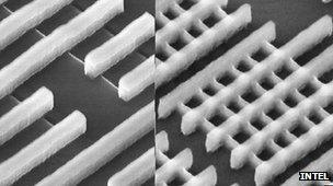 Planar and tri-gate chips under microscope
