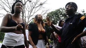 Uganda women activists stripping in protest