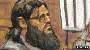 Adis Medunjanin in courtroom sketch. Photo: April 2012