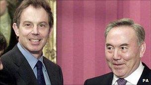 Tony Blair and President Nursultan Nazarbayev in Downing Street in 2000