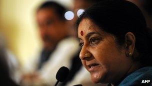 Indian opposition leader Sushma Swaraj in Colombo, Sri Lanka - 21 April 2012