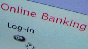 Online banking page
