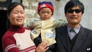 Chen with his son and wife