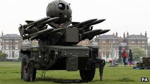 A Rapier short-range air defence system at Blackheath, London