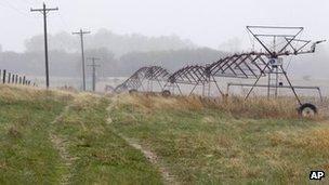 Farmland near Neligh, Nebraska, which lies along the proposed Keystone XL pipeline route 19 April 2012
