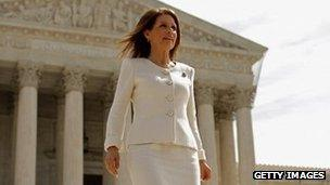 Michele Bachmann walks down the Supreme Court steps 28 March 2012
