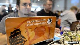 Delegates attend the national conference of the Pirate Party of Germany in Neumuenster (April 2012)