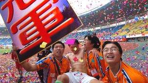 Shenzhen Jianlibao, a football team sponsored by the drinks company wins 2004's Chinese Super League championship