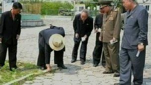 Kim Jong-un inspecting the Manyo'ngdae Funfair (Source: North Korean TV)