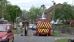 Bomb disposal experts at the scene