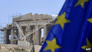 EU flag flies on the backdrop of the Acropolis, Athens (file picture)