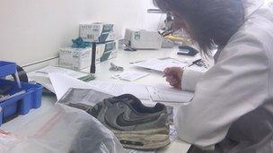 Forensic scientist examines training show