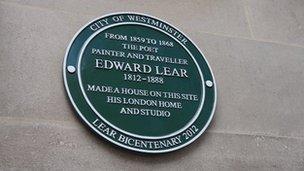 Edward Lear plaque
