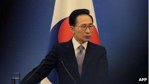 South Korea's President Lee Myung-bak at the fifth trilateral summit among China, South Korea and Japan at the Great Hall of the People in Beijing on 13 May, 2012