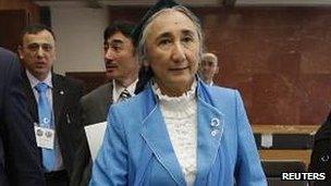 Rebiya Kadeer, president of the World Uighur Congress, arrives at the fourth General Assembly of the World Uighur Congress in Tokyo, 14 May 2012