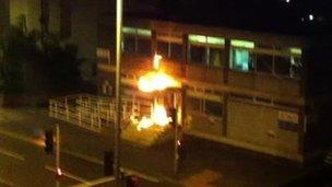 Canning Circus police station on fire
