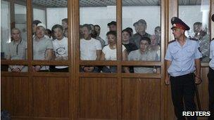 Defendants in court during the riot case, June 4 2012