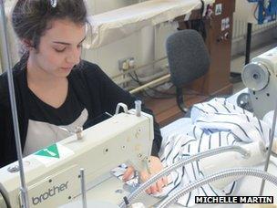 Sewing a striped dress