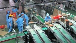 The egg processing centre at the Deqingyuan farm near Beijing