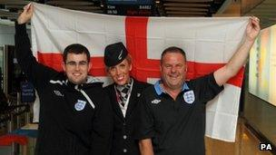 England fans pose with BA's Marie Ailsby