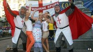 England fans in Kiev with local girls