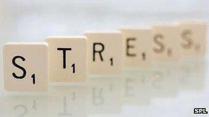 Scrabble letters spelling stress