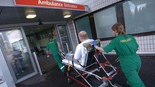 Patient being taken into hospital