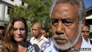 Prime Minister Xanana Gusmao and his wife Kirsty Gusmao cast their vote during Parliamentary Elections on July 7, 2012 in Dili, East Timor.