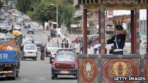 Traffic policeman in Bhtan's capital, Thimpu