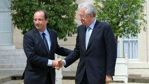 French President Francois Hollande and Prime Minister Mario Monti