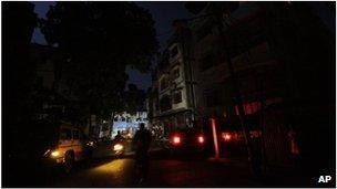 Dark street in Calcutta, India (31 July 2012)