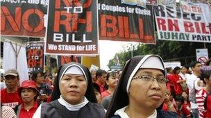 Nuns marching in protest against the Reproductive Health Bill