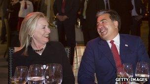 US Secretary of State Hillary Clinton with Georgian President Saakashvili
